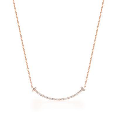 Tiffany T smile pendant in 18k rose gold with diamonds mini