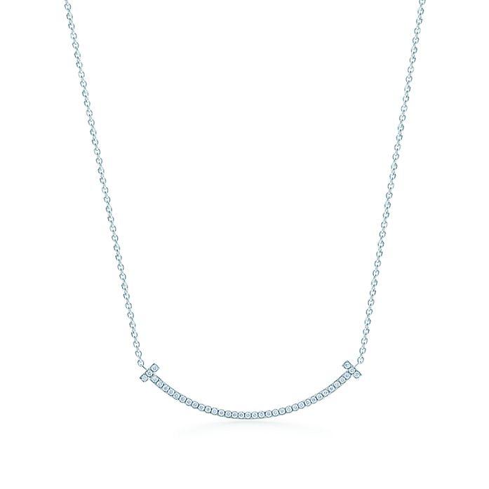 6c16da9fc Tiffany T smile pendant in 18k white gold with diamonds, mini ...