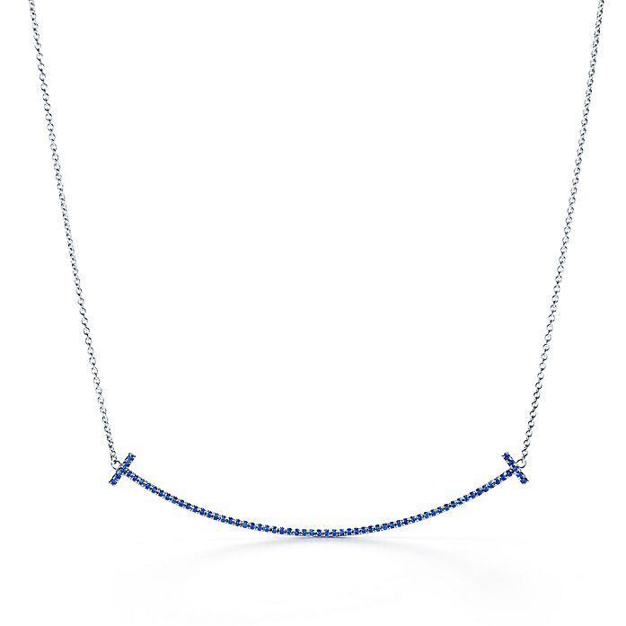 002fd97d1 Tiffany T smile pendant in 18k white gold with sapphires. | Tiffany ...