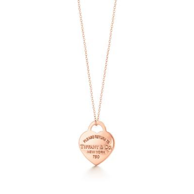 Return to Tiffany heart tag pendant in 18k rose gold small