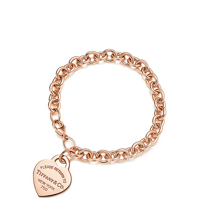 c8e5809a0 Return to Tiffany™ medium heart tag in 18k rose gold on bracelet ...