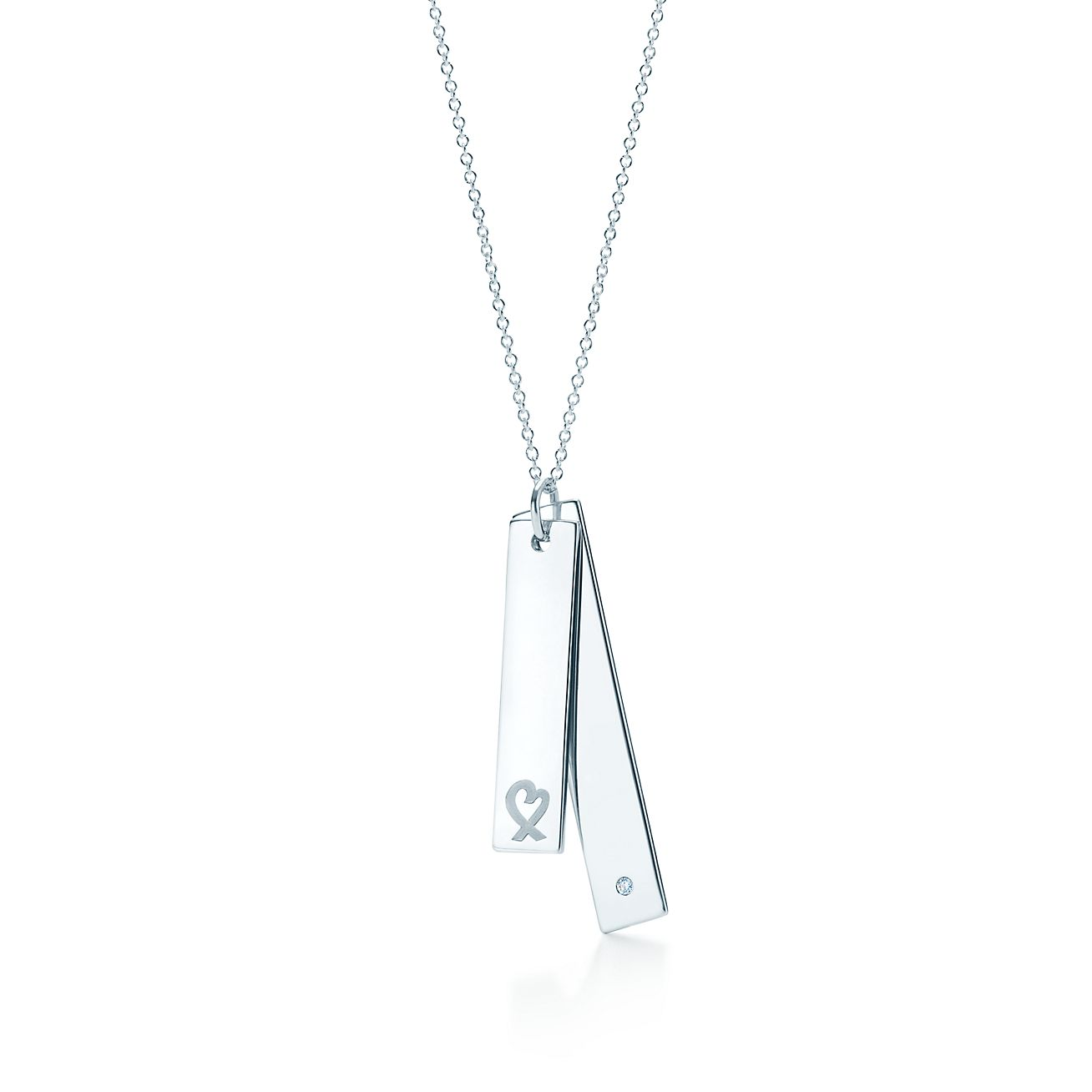 Beautiful Paloma Picasso® Loving Heart double bar pendant in silver with a  FG78