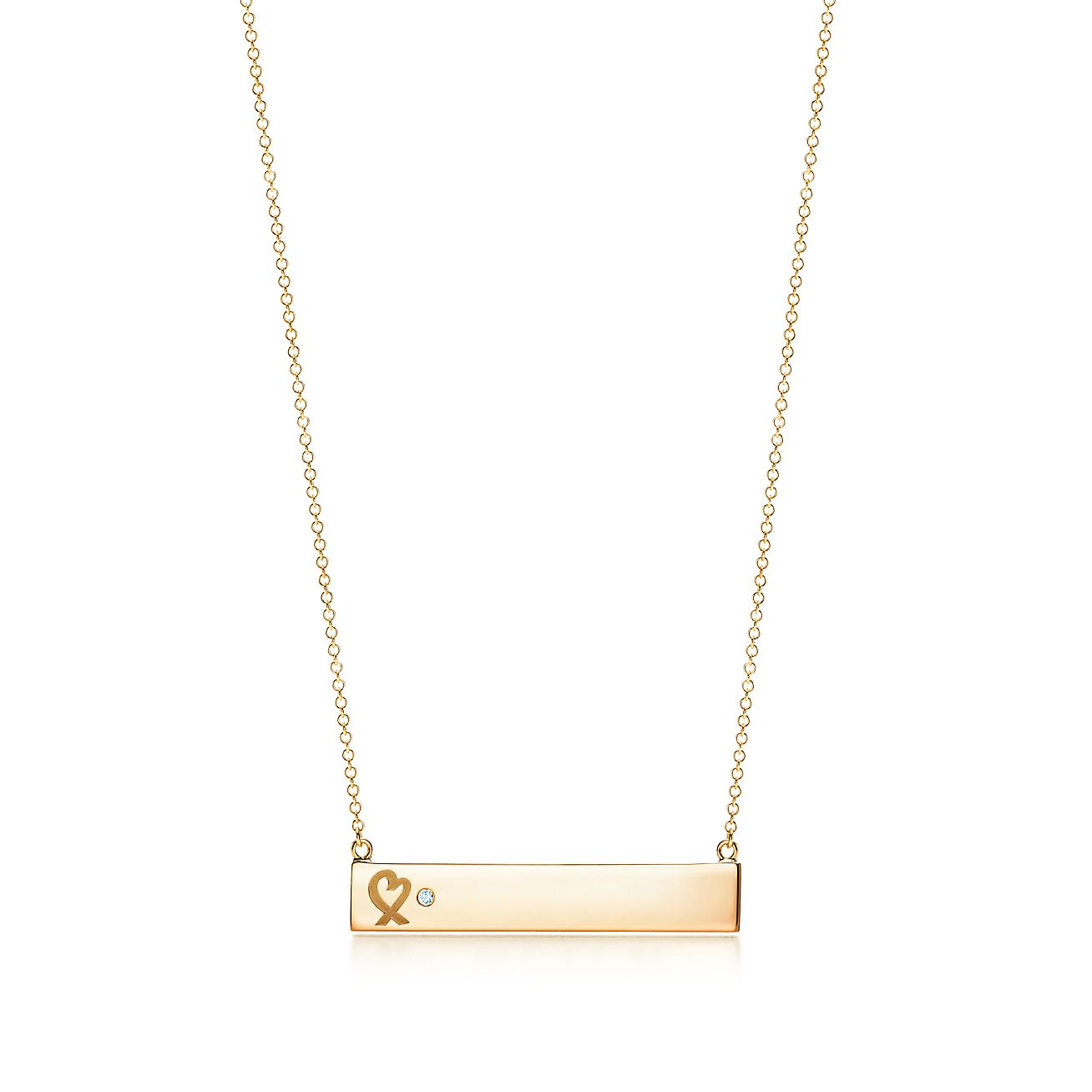 Paloma picasso loving heart bar pendant in 18k gold with a diamond paloma picassoloving heart bar pendant aloadofball Image collections