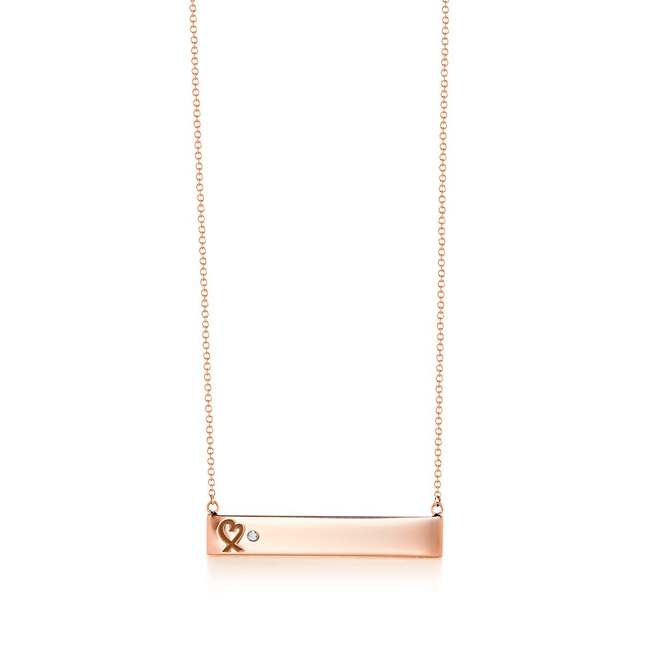 Paloma picasso loving heart bar pendant in 18k rose gold with a paloma picassoloving heart bar pendant aloadofball Image collections