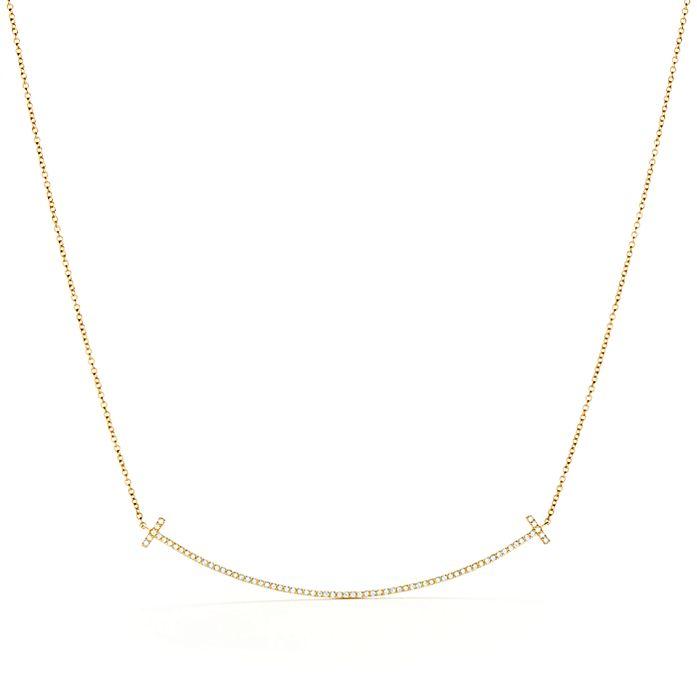 bc5094d455cec Tiffany T smile pendant in 18k gold with diamonds.