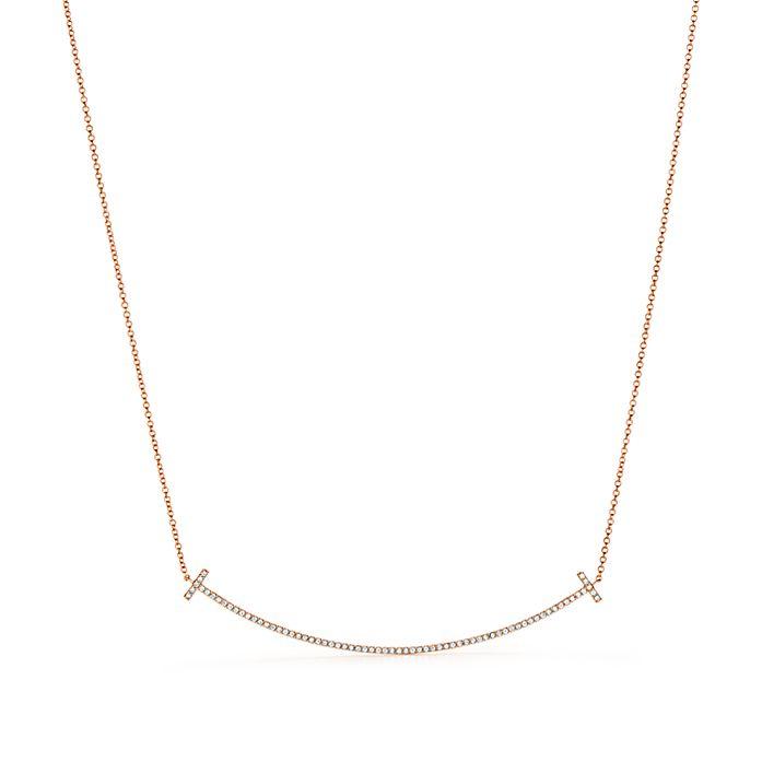 73b686f9d 18K Rose Gold and Diamond Tiffany T Smile Pendant   Tiffany & Co.