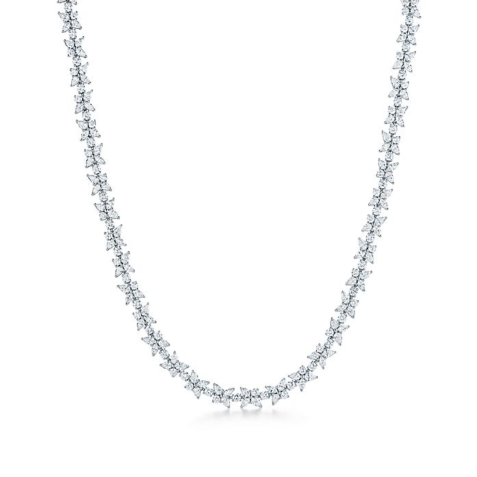 3230d20bb Tiffany Victoria® mixed cluster necklace in platinum with diamonds ...