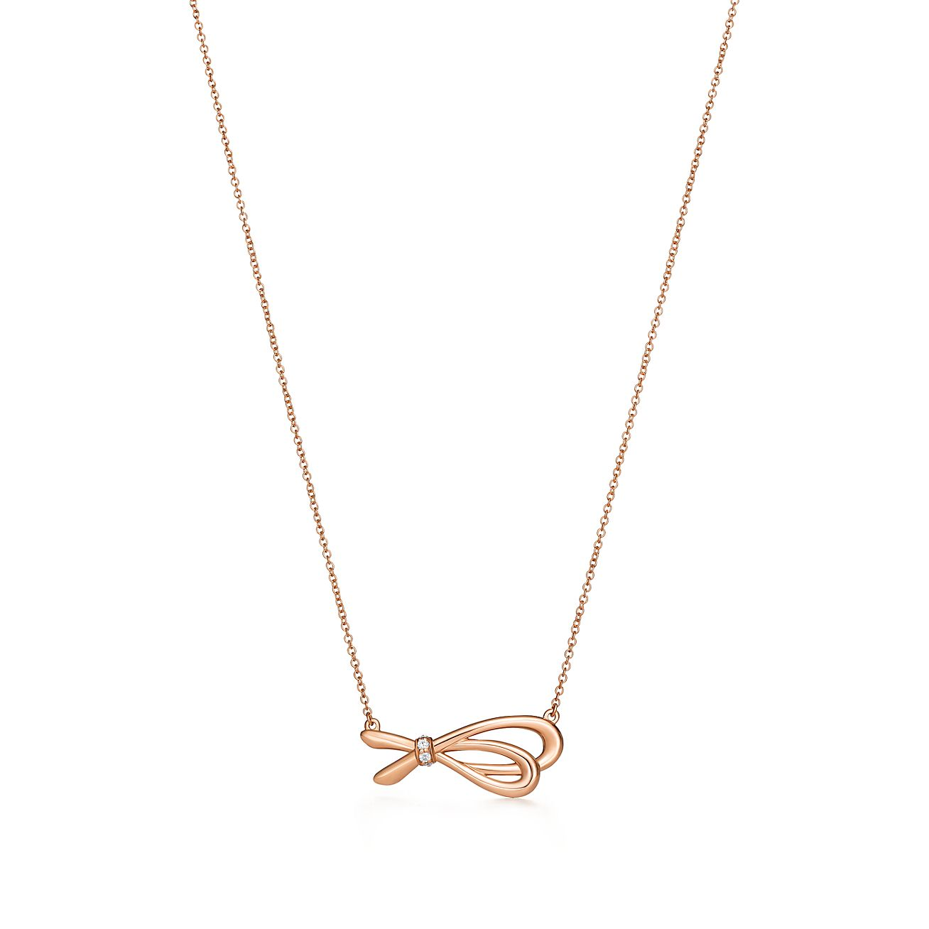 Tiffany bow pendant in 18k rose gold with diamonds tiffany co tiffany bowpendant aloadofball Images