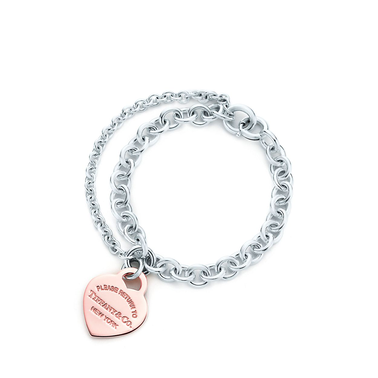 Return to Tiffany double chain heart tag bracelet in silver and Rubedo metal Tiffany & Co. aRVg9ACX