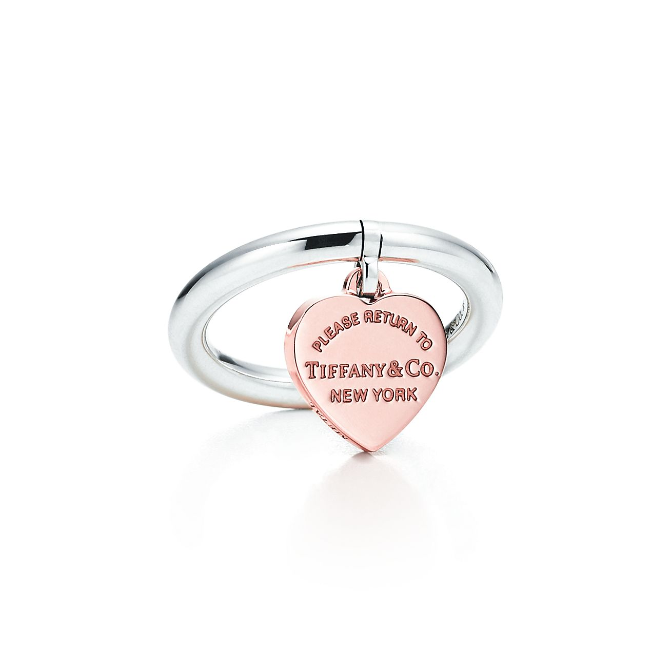 Return To Tiffany Heart Tag Ring In Sterling Silver And Rubedo