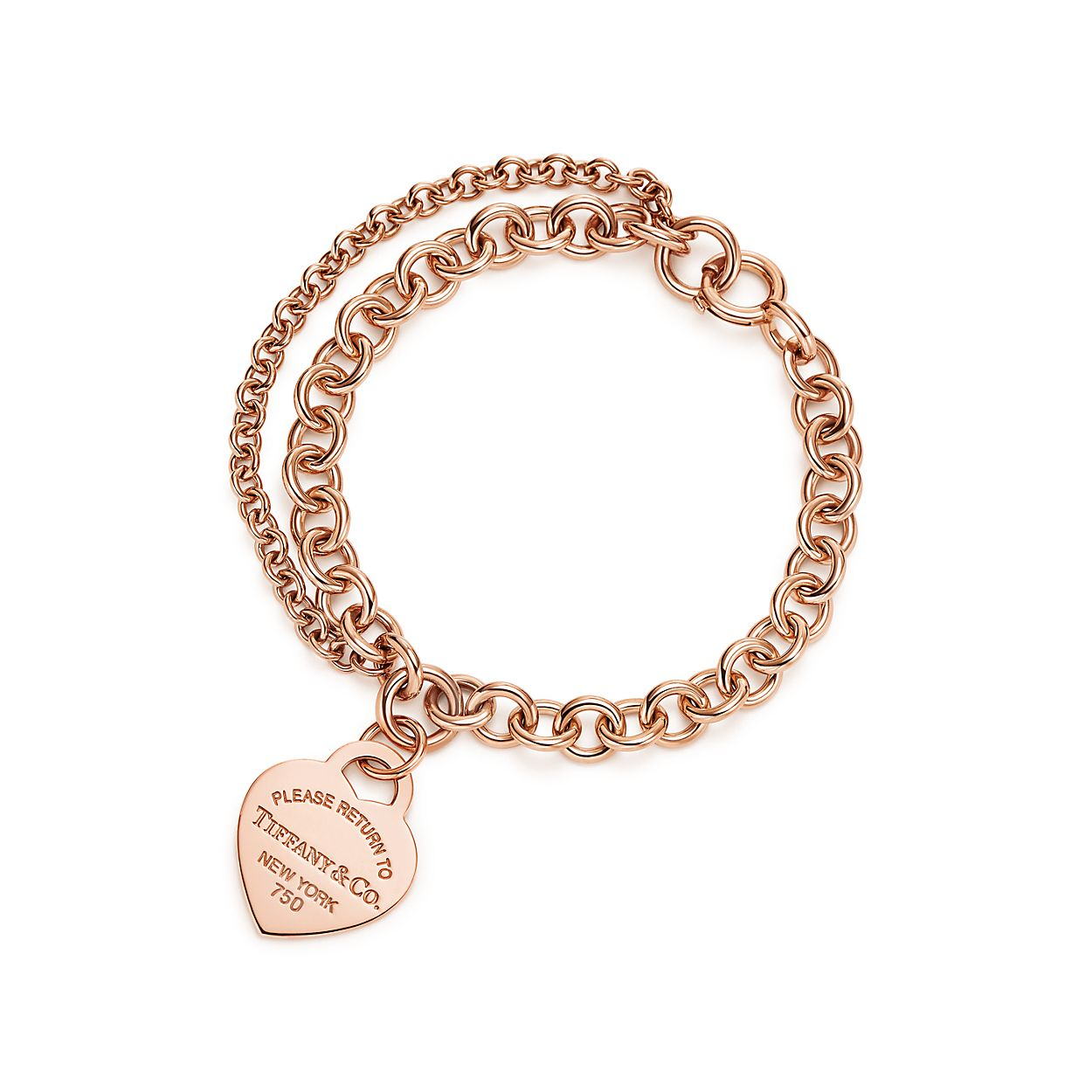 Return to Tiffany double chain heart tag bracelet in sterling silver, medium Tiffany & Co.