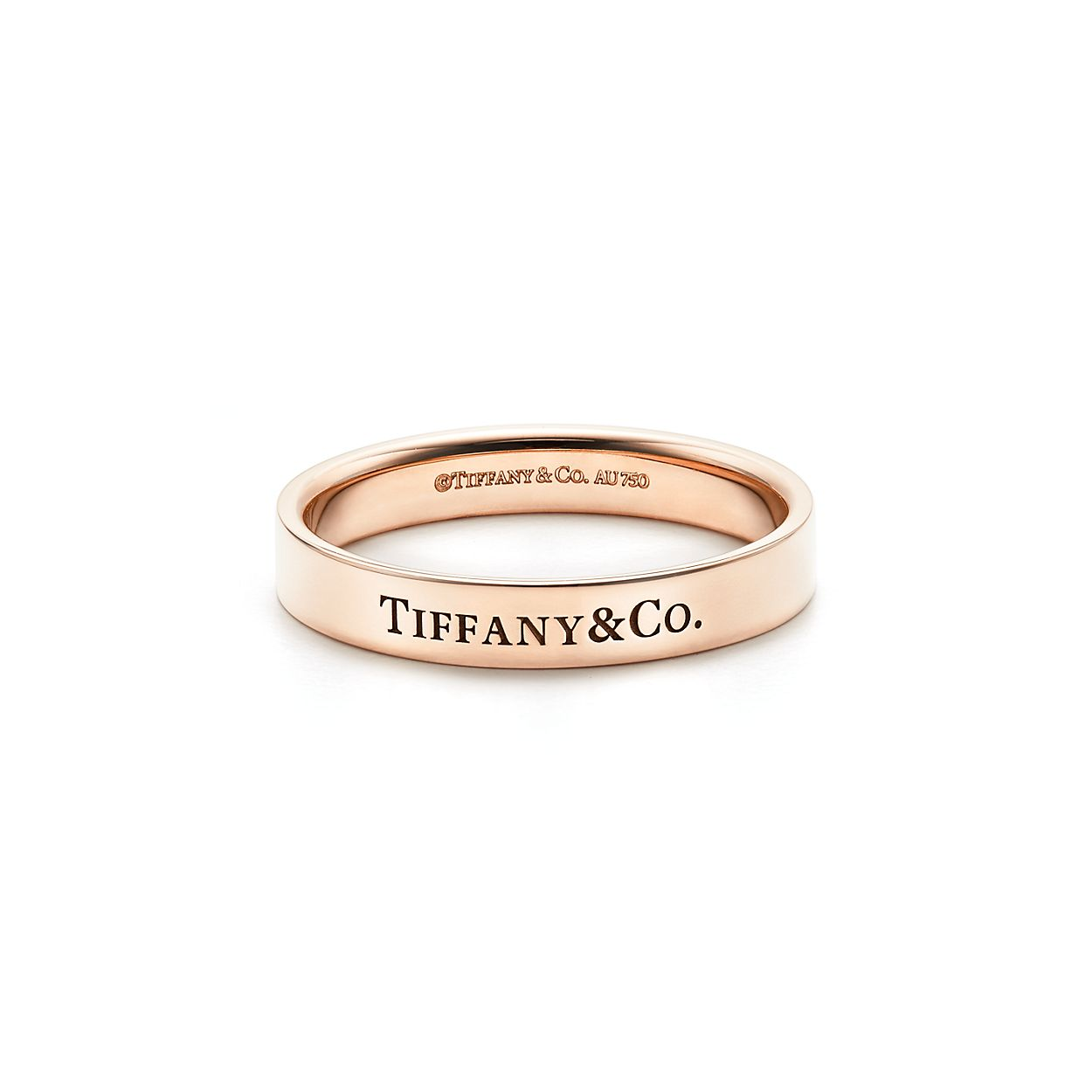 Tiffany & Co band ring in 18k rose gold, 4 mm wide - Size 6 1/2 Tiffany & Co.