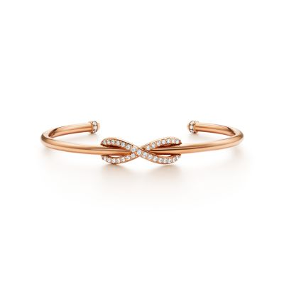 Tiffany Infinity 18K Rose Gold and Diamond Cuff Tiffany Co