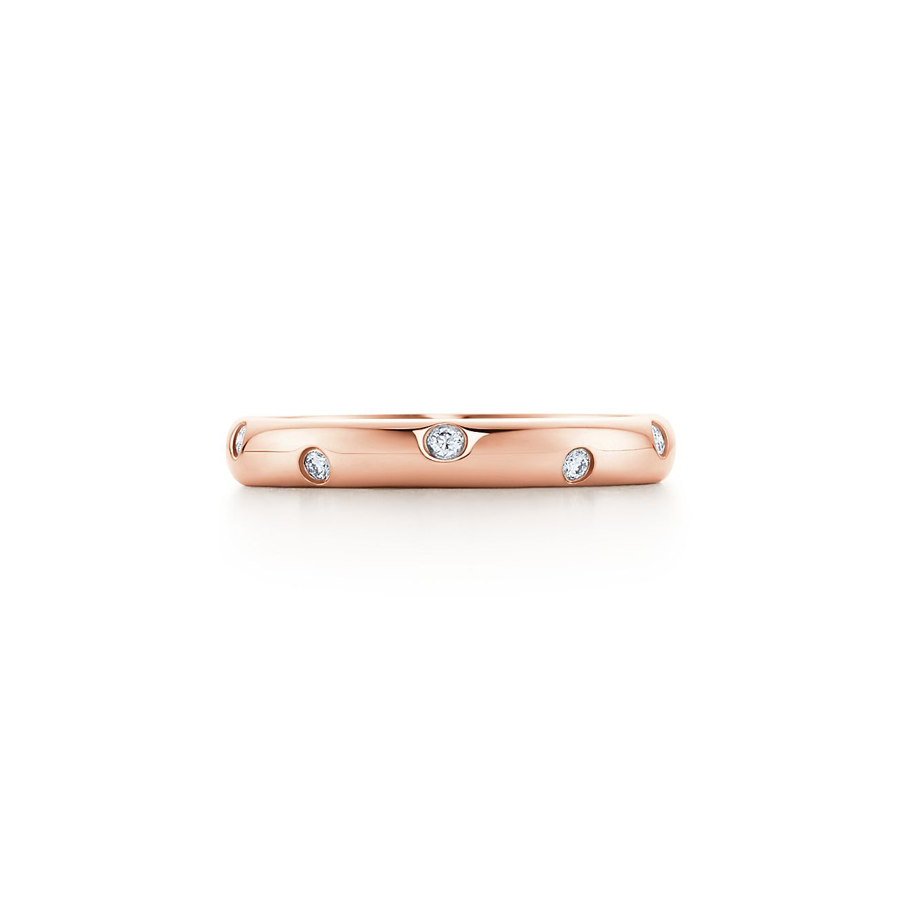 Elsa Peretti band ring with a diamond in 18k rose gold, 3 mm wide - Size 8 1/2 Tiffany & Co.