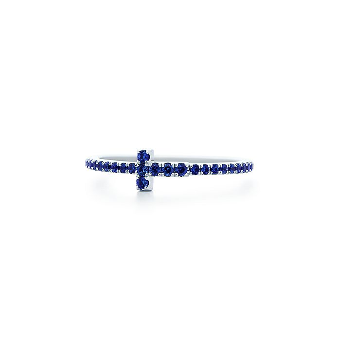 456650177 Tiffany T sapphire band ring in 18k white gold.   Tiffany & Co.