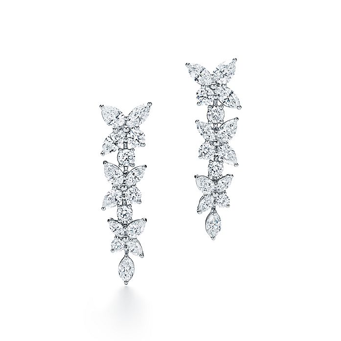 4d1ab4d65 Tiffany Victoria® mixed cluster drop earrings in platinum with ...