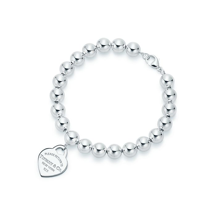 b402bf349 Return to Tiffany® heart tag in sterling silver on a bead bracelet ...