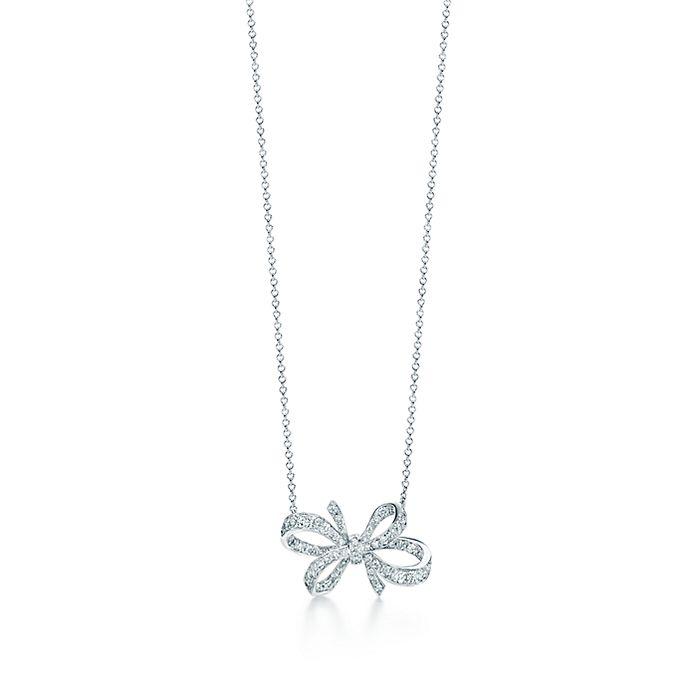 c483b1d5d Tiffany Bow ribbon pendant in platinum with diamonds.   Tiffany & Co.