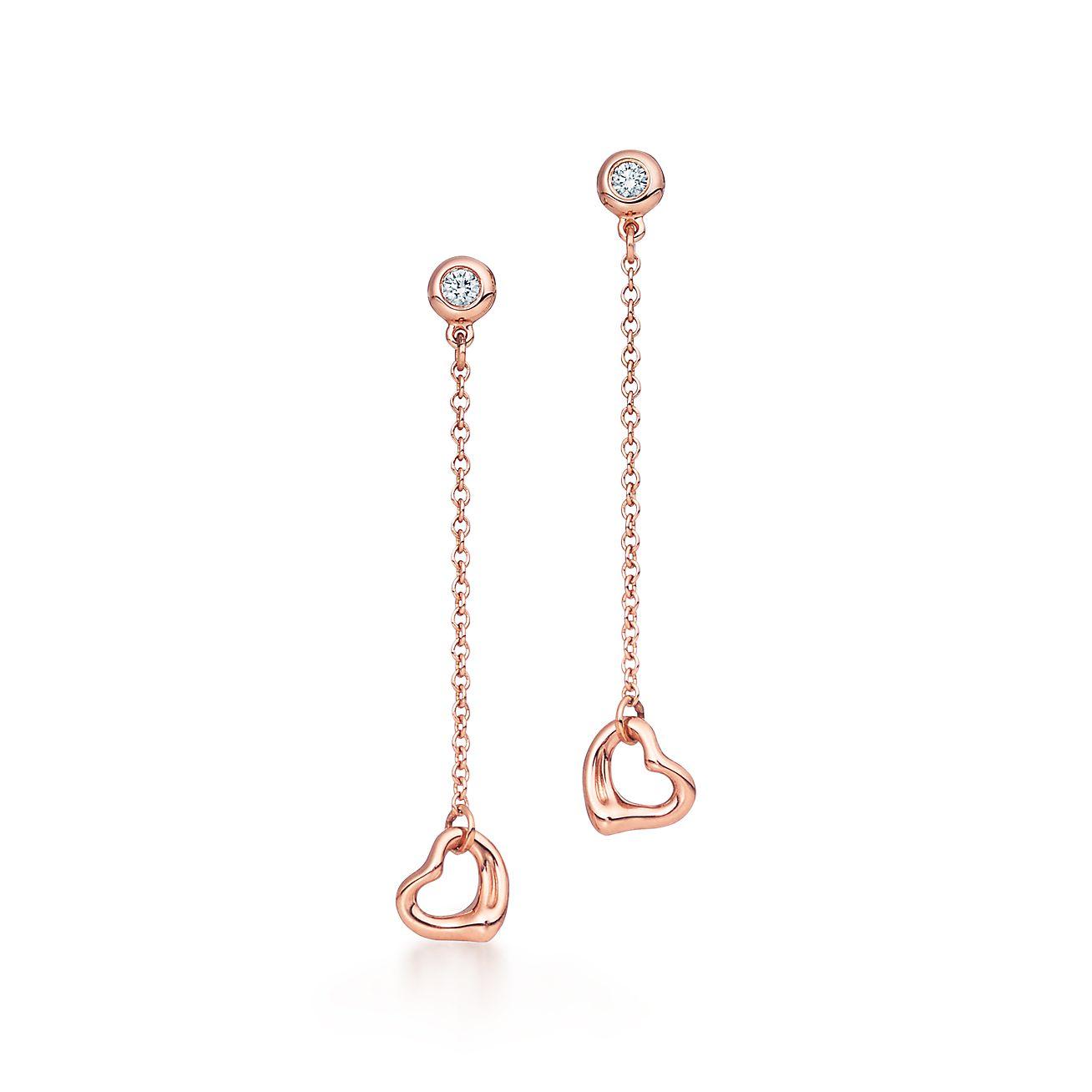 Elsa Peretti Open Heart earrings in 18k rose gold Tiffany & Co.