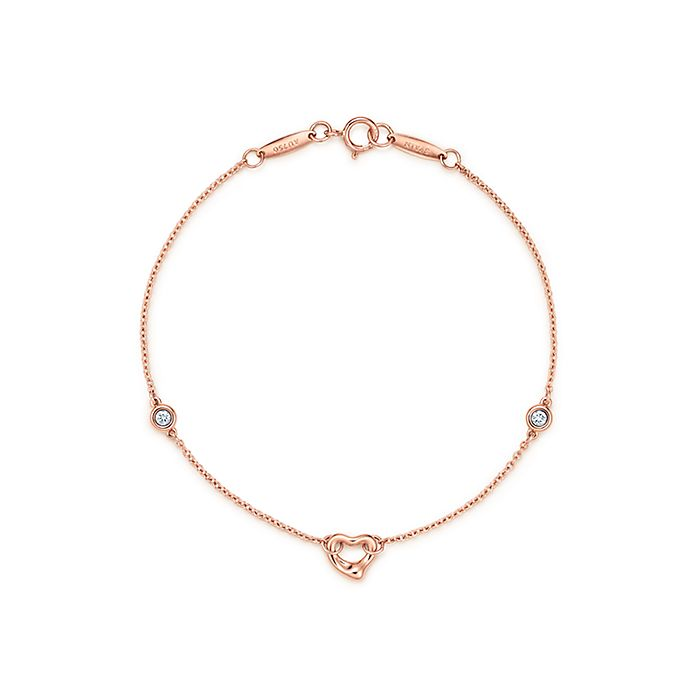 6c58f3b62 Elsa Peretti® Diamonds by the Yard® Open Heart bracelet in 18k rose ...
