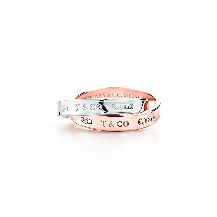 8707583e264 Tiffany 1837™ interlocking ring in sterling silver and Rubedo® metal ...