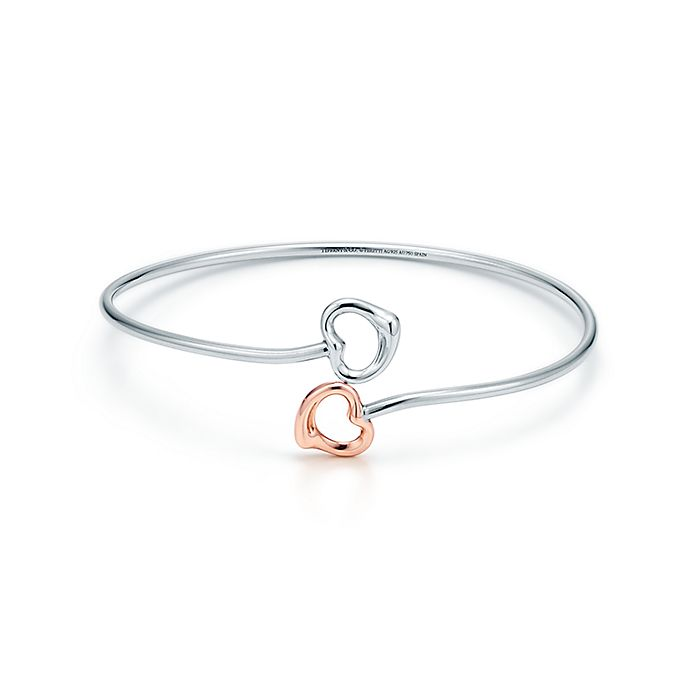 9a62b5be5 Elsa Peretti® Double Open Heart bangle in silver and 18k rose gold ...