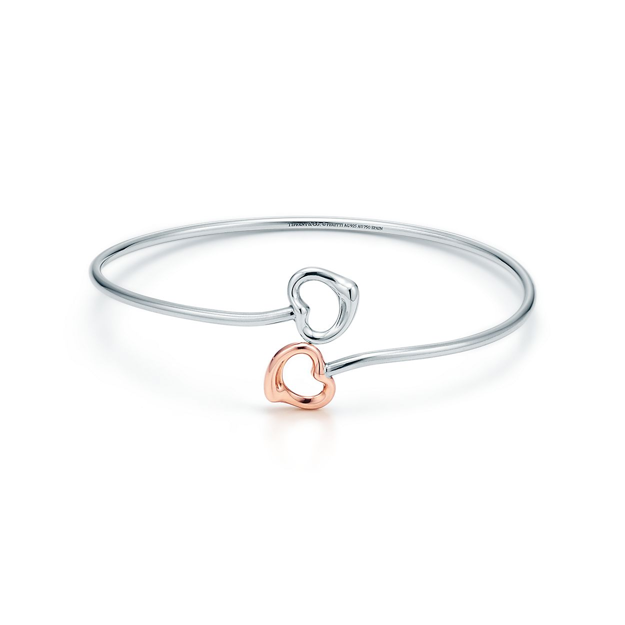 Elsa Peretti® Double Open Heart bangle in silver and 18k rose gold ... febfb512429d