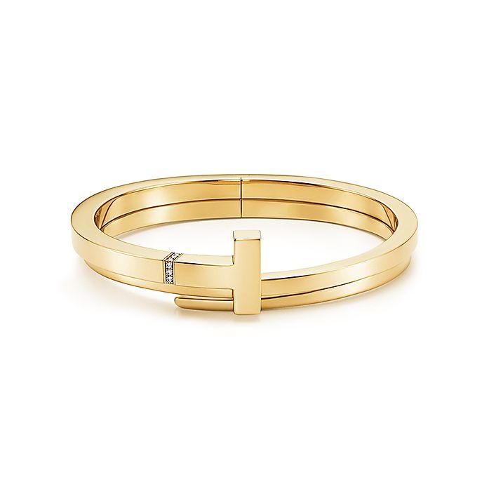 1554745c2 Tiffany T square wrap bracelet in 18k gold with diamonds, medium ...