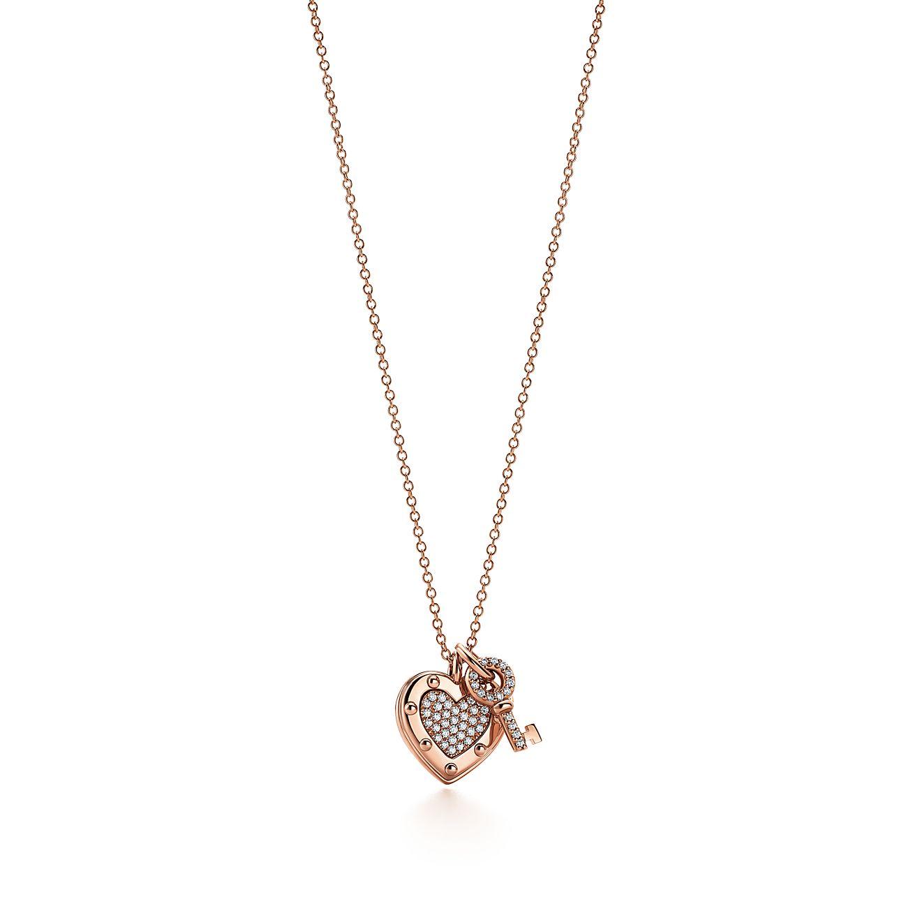 Return to Tiffany Love heart tag key pendant in 18k gold with diamonds Tiffany & Co.