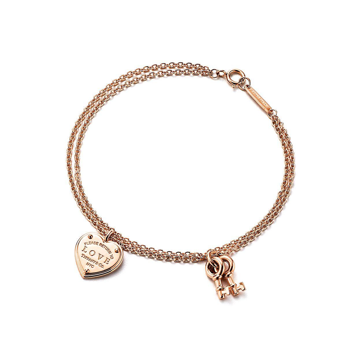 Bracelet Love Plaque Cœur avec Clé en or rose 18 carats. Medium ... 8860491fb1fa
