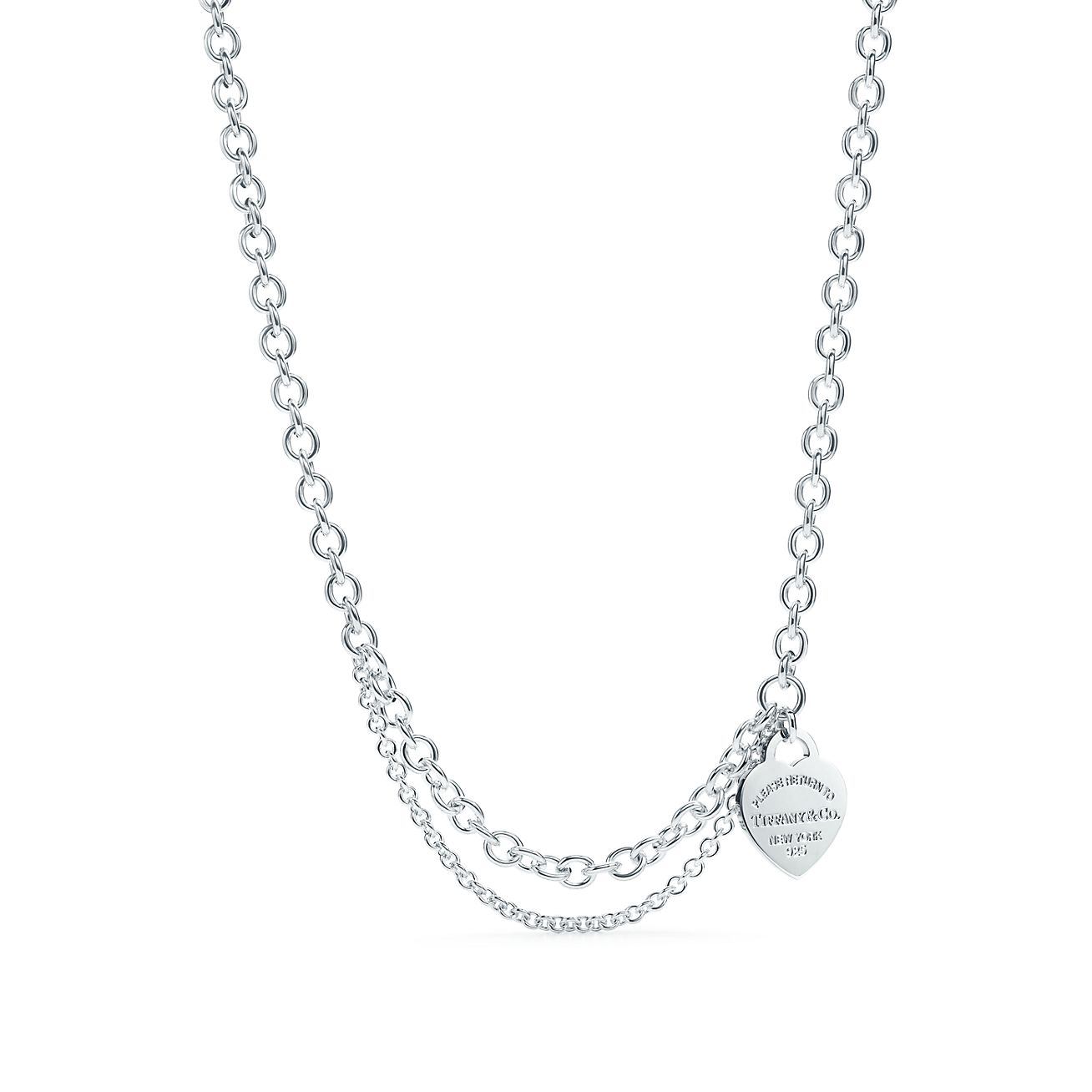 Return to Tiffany double chain heart tag bracelet in sterling silver, large Tiffany & Co.