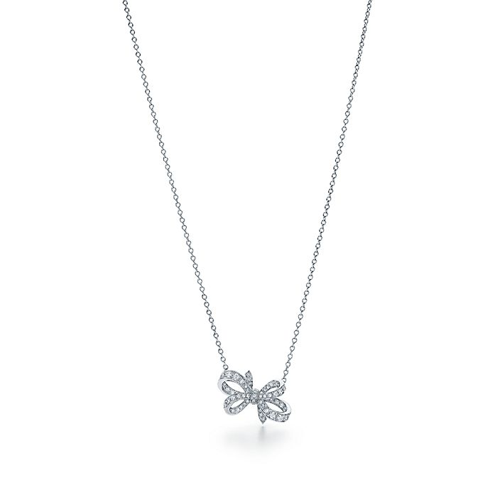 57295f188 Tiffany Bow ribbon pendant in platinum with diamonds, mini.   Tiffany & Co.