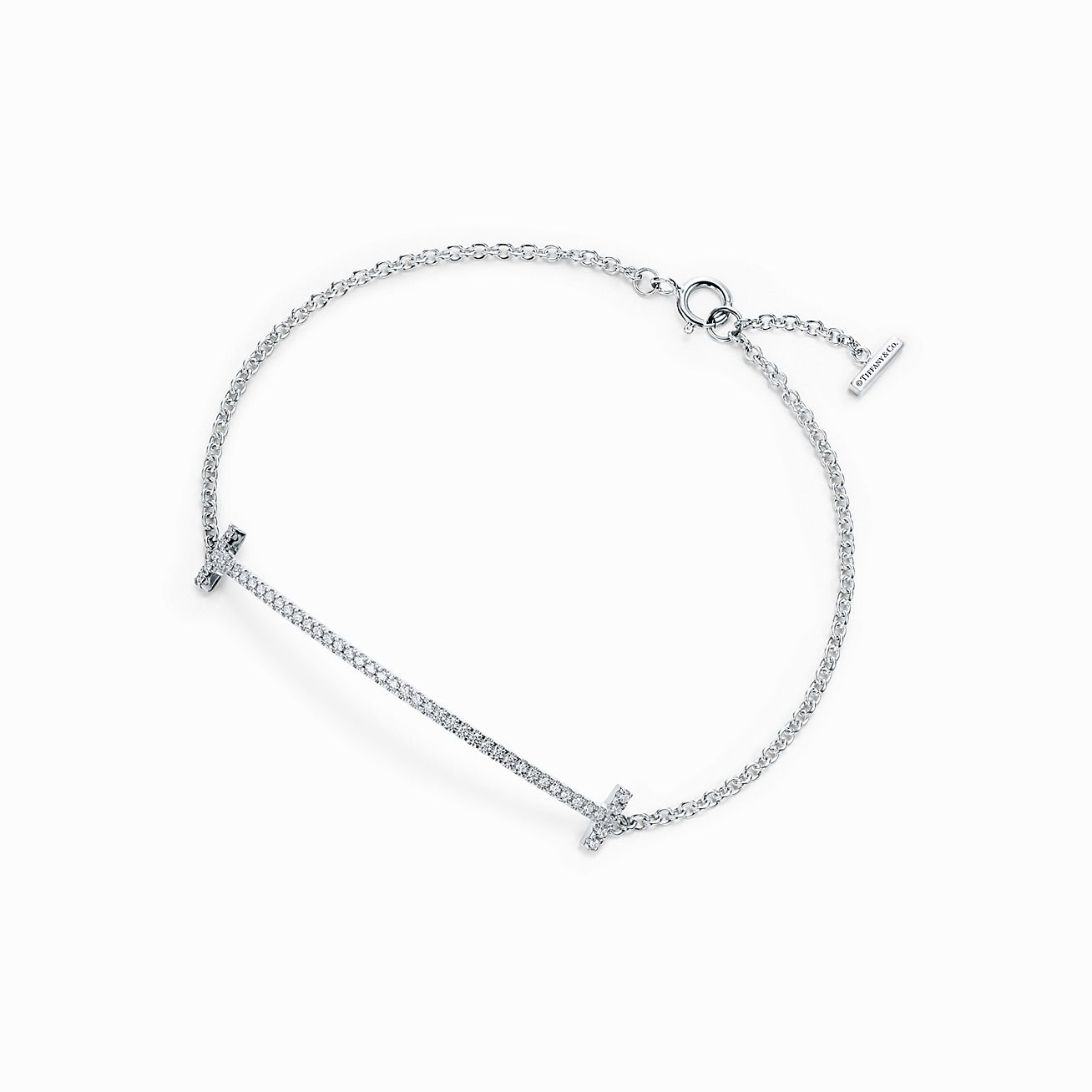 Tiffany Sourire T Boucles D'oreilles En Or Blanc 18 Carats Avec Diamants Tiffany & Co. N6pkoinNIB