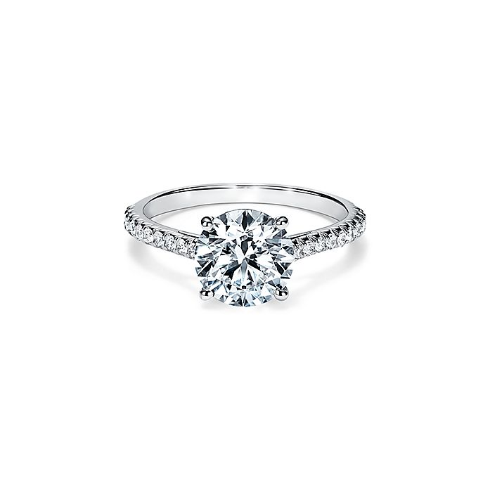 Tiffany Novo Round Brilliant Engagement Ring With A Pave Diamond Platinum Band