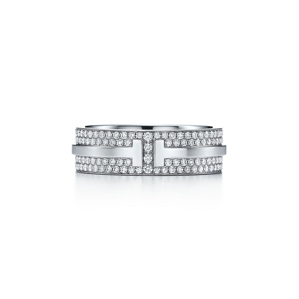tiffany t two ring in 18k white gold with pavé diamonds tiffany co