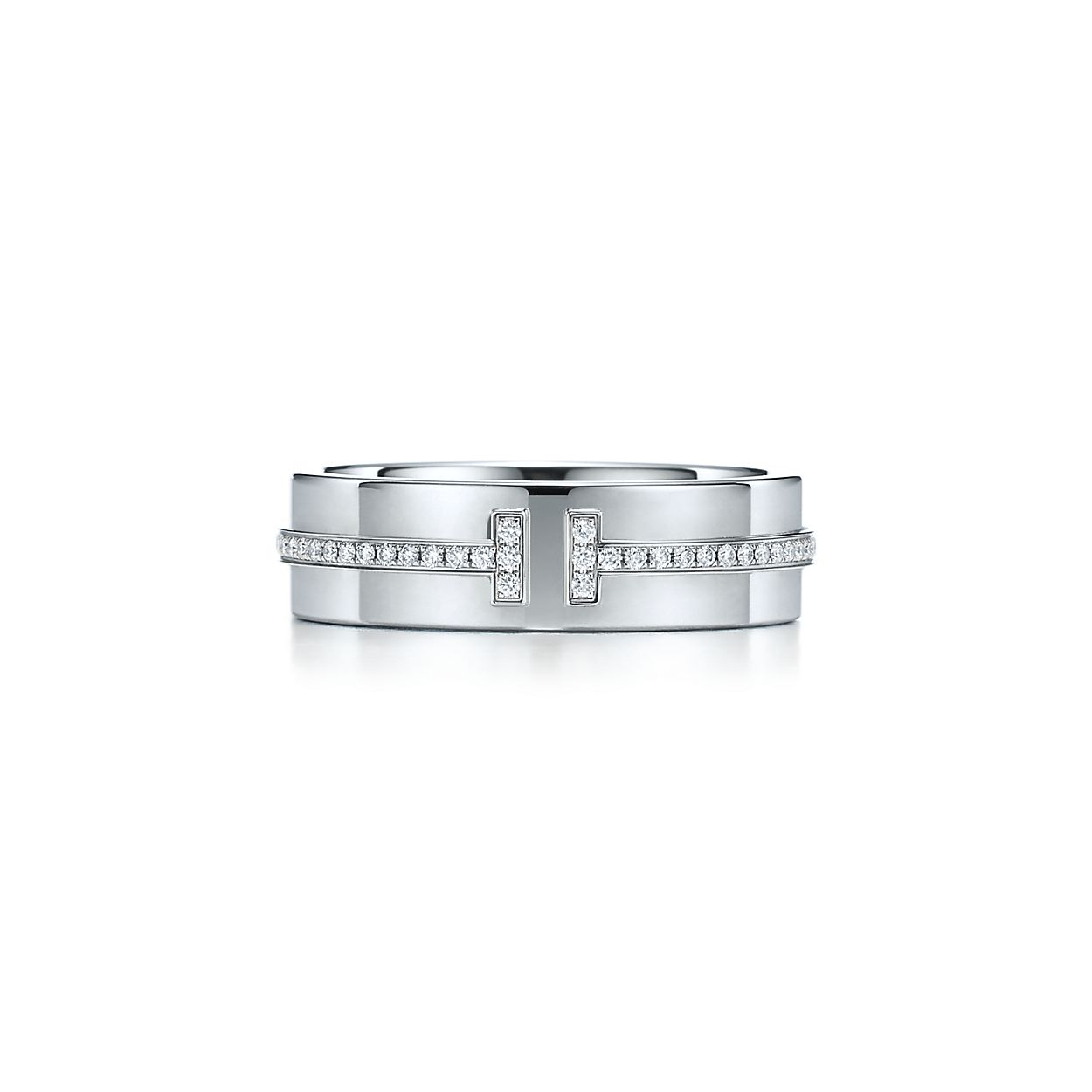 tiffany t two ring in 18k white gold with diamonds tiffany co