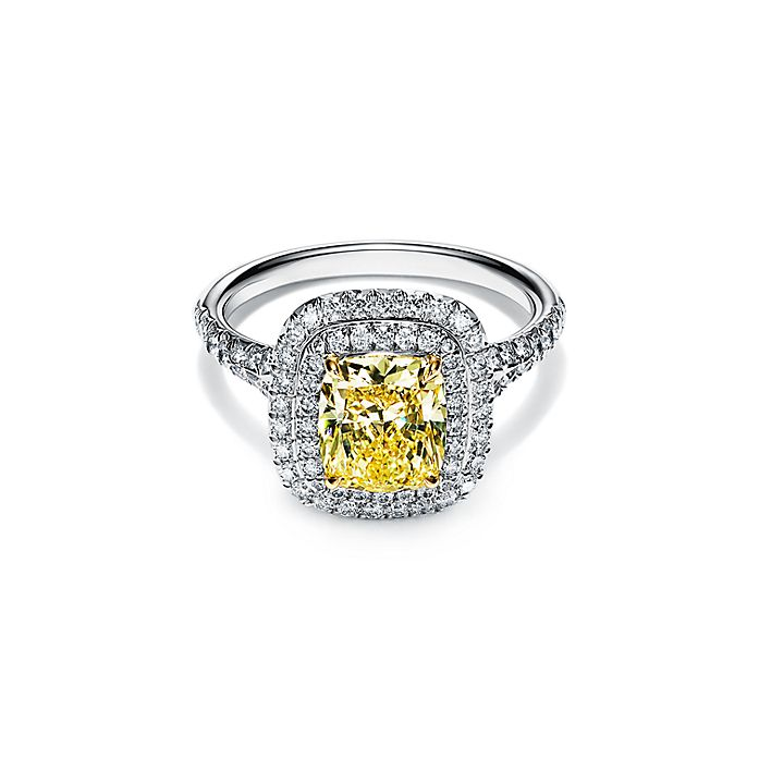Tiffany Soleste Cushion Cut Yellow Diamond Halo Engagement Ring In Platinum