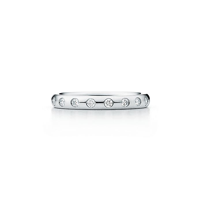 30c191ea6 Elsa Peretti® stacking band ring in platinum with eight diamonds ...