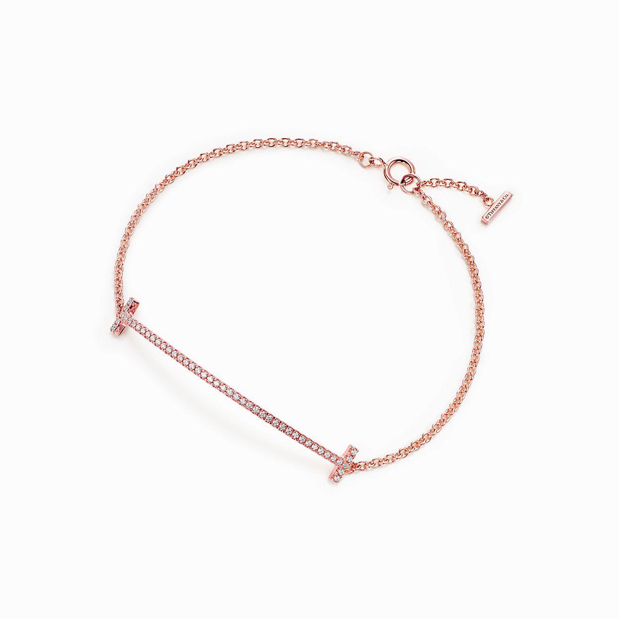 Tiffany T smile earrings in 18k rose gold with diamonds Tiffany & Co. OE9796