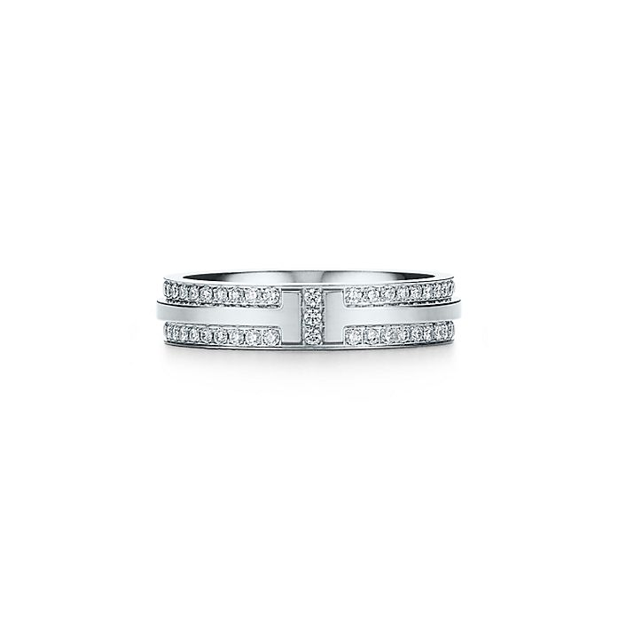 24ddb238f Tiffany T Two narrow ring in 18k white gold with pavé diamonds ...