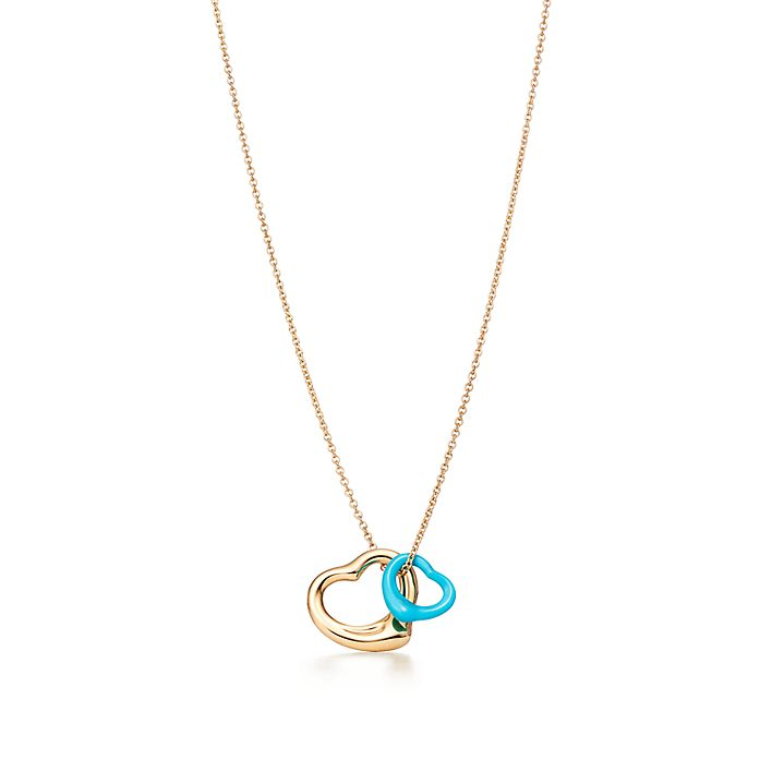 d32ba9963 Elsa Peretti® Open Heart pendant in 18k gold and turquoise ...