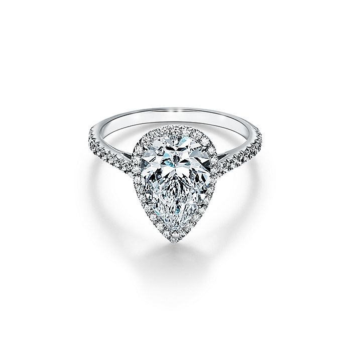 cbe1acd60 Tiffany Soleste pear-shaped halo engagement ring with a diamond ...