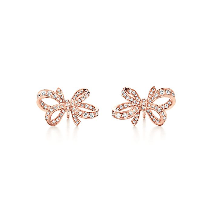 272f1d7e3 Tiffany Bow ribbon earrings in 18k rose gold with diamonds, mini ...