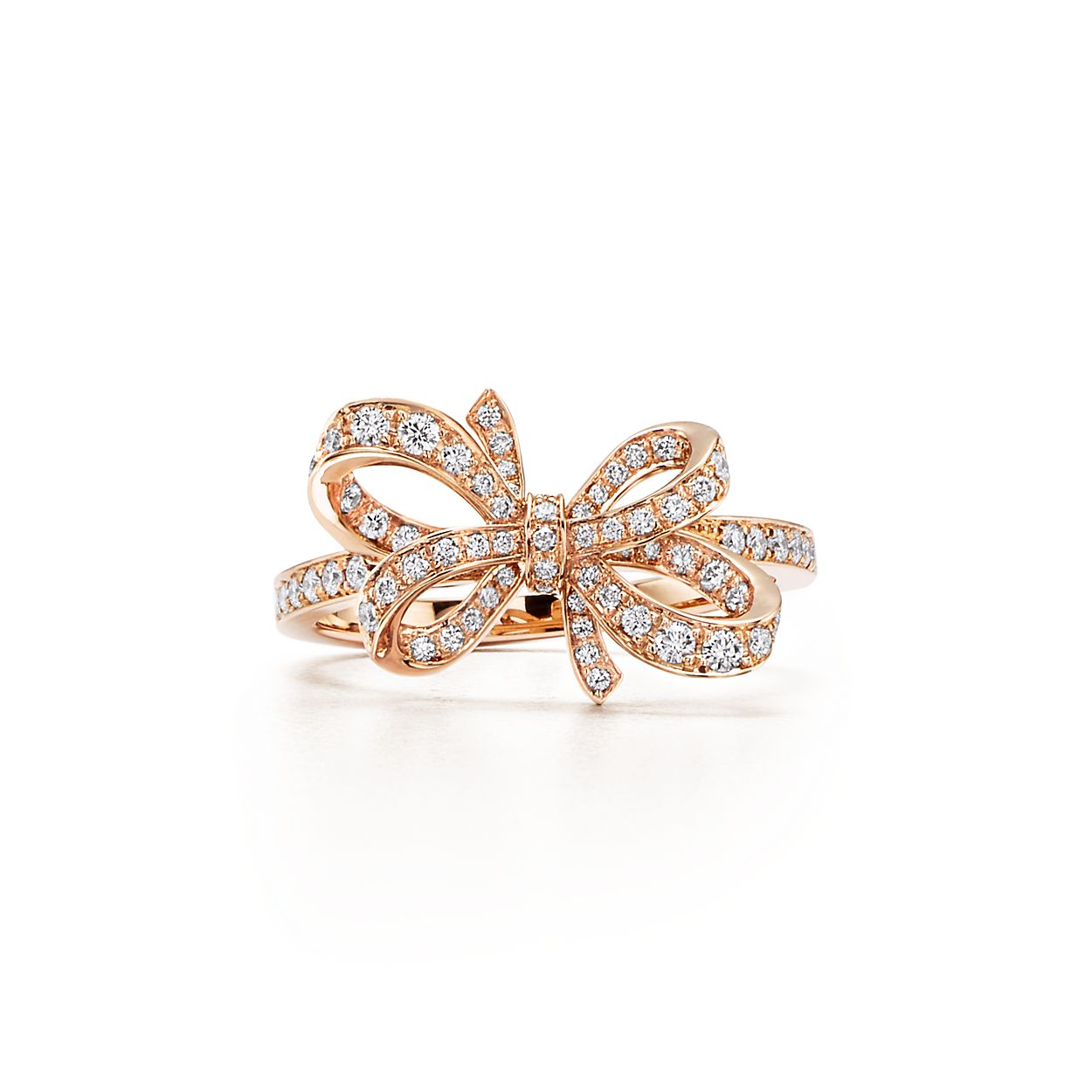 Tiffany Bow Ribbon Ring In 18k Rose Gold With Round Brilliant Diamond Mobil Legend 966 Diamonds Co