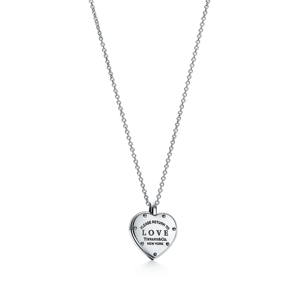 return to tiffany love sliding heart pendant in sterling silver