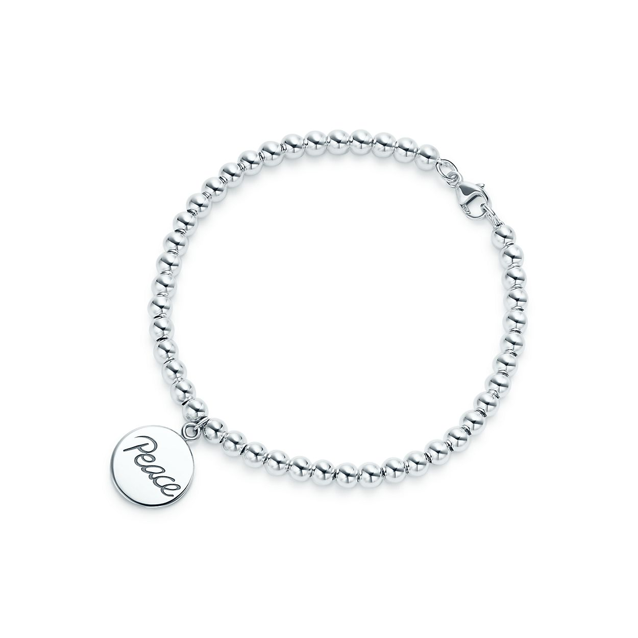 Palomas Graffiti love tag in sterling silver on a bead bracelet, small Tiffany & Co.