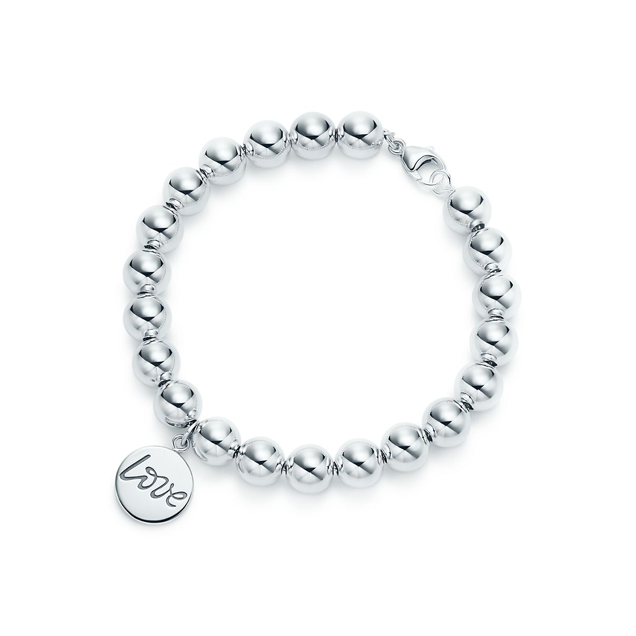 Palomas Graffiti love tag in sterling silver on a bead bracelet, medium Tiffany & Co.