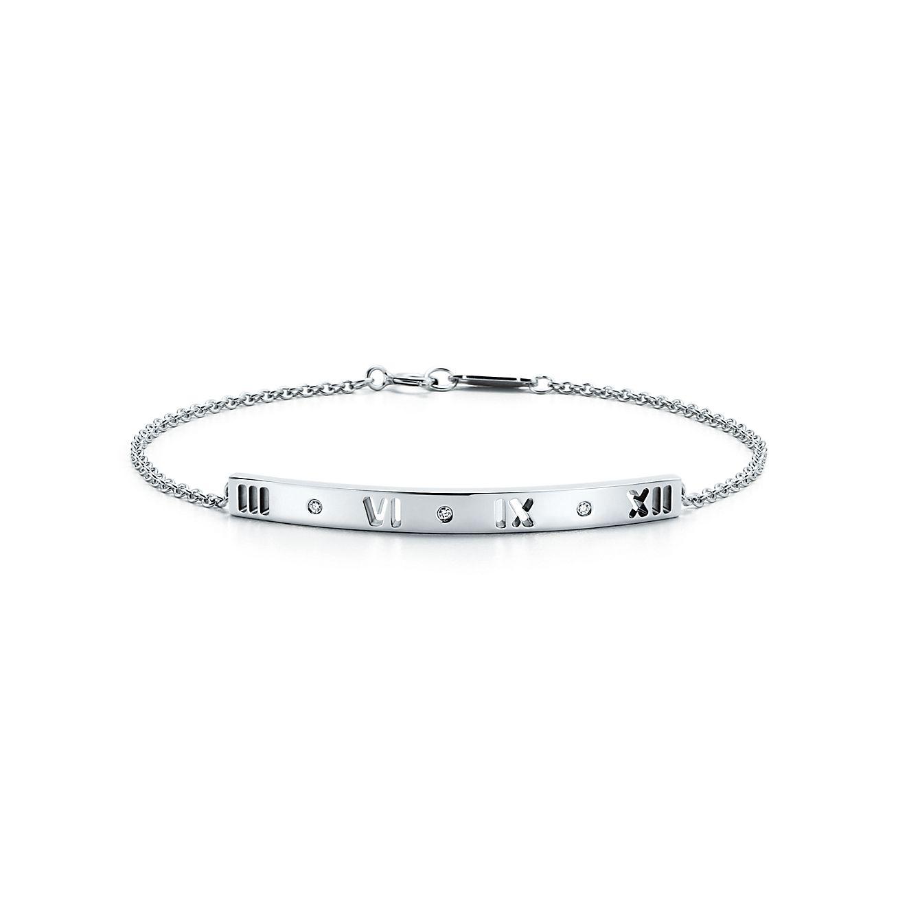 Atlas pierced bar bracelet in 18k white gold with diamonds, small Tiffany & Co.