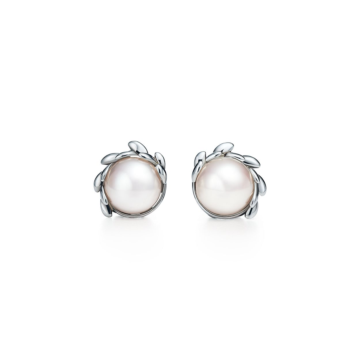 paloma picasso olive leaf pearl earrings in sterling silver