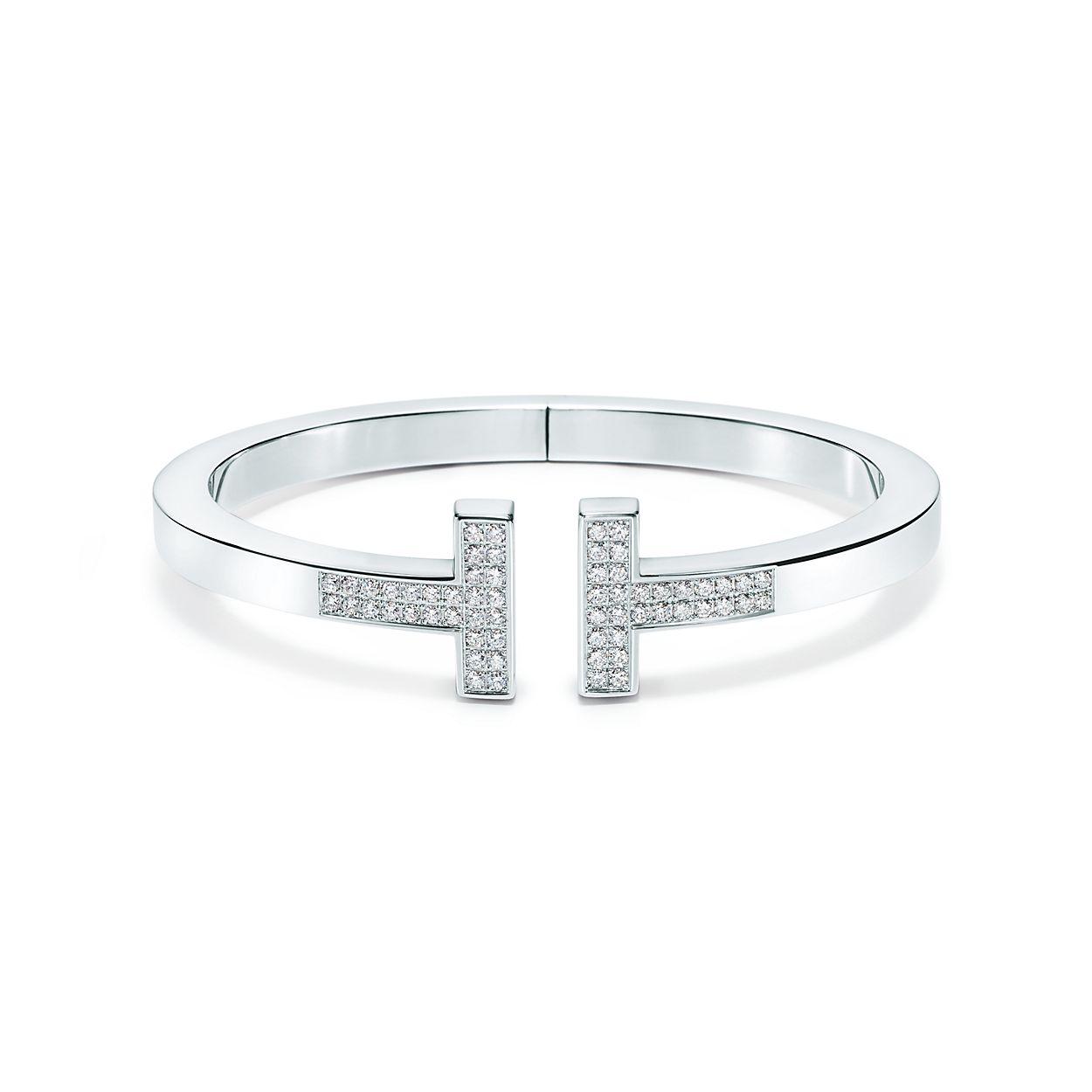 tiffany t square bracelet in 18k white gold with pavé diamonds